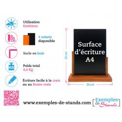 Porte menu de table ardoise pvc 3mm avec socle en bois Format A4