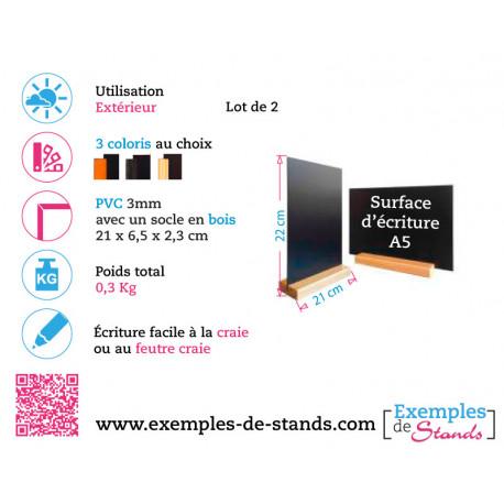 Lot de 2 porte menu de table ardoise pvc3mm avec socle en bois Format A5 22x21cm