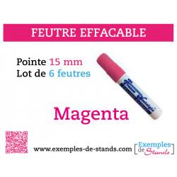 6 feutres craies couleur rose magenta mine 15mm