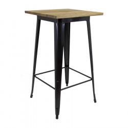 Mange debout table haute plateau bois carré