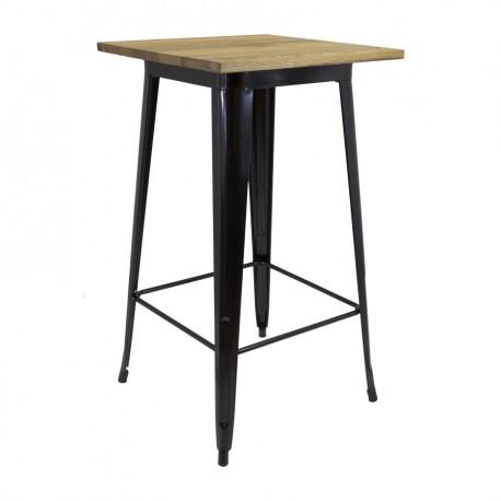Mange debout table haute plateau bois carré 4 pieds laqués noir ou blanc